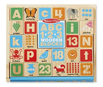 ABC 123 Wooden Blocks in a Box