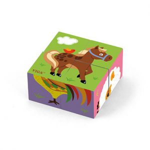 4pcs 6-Side Cube Puzzle – Farm Animals