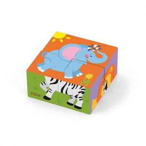 4pcs 6-Side Cube Puzzle – Wild Animal