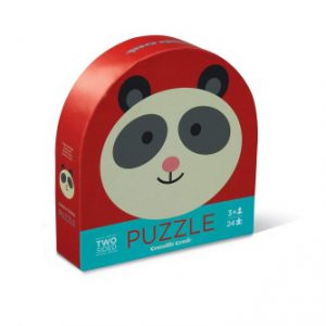 24Pc Round Two Sided Puzzle Panda