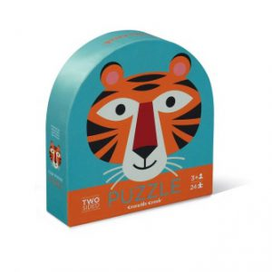 24Pc Round Two Sided Puzzle Tiger