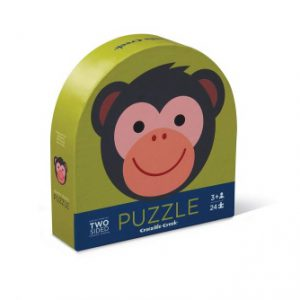 24Pc Round Two Sided Puzzle Monkey
