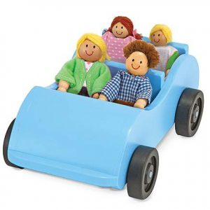 Wooden Car and Poseable Passengers