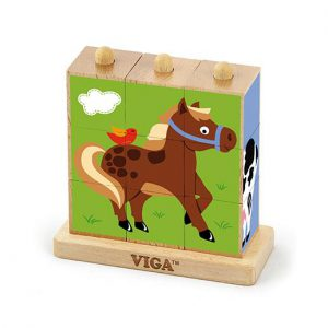 9pcs Stacking Cube Puzzle – Farm Animals