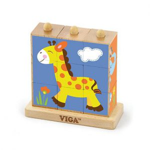 9pcs Stacking Cube Puzzle – Wild Animals
