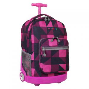Block Pink Rolling Backpack Large (51X34X22CM)
