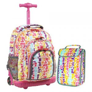 Squares Neon Rolling Backpack with Lunchbox (39X16CM)