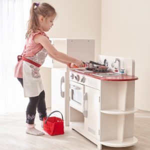 Teamson Kids – Classic Play Kitchen – White & Red (2 Piece)