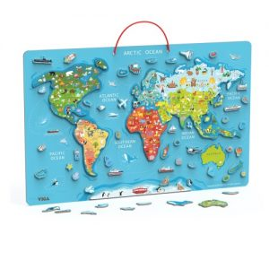 Magnetic World Puzzle + Dry Erase Board
