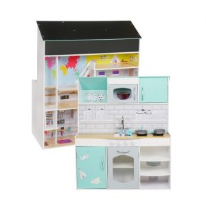 Dollhouse & Kitchen PASTEL 2 in 1 (92 x 42 x 98 cm)Blue
