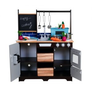 Kitchen Wooden Black with Accessories for kids